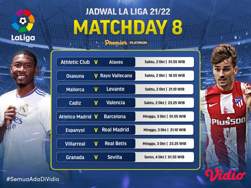 Jadwal Lengkap Live Streaming La Liga Spanyol 2021/22 Jornada 8