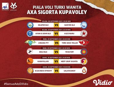 Jadwal dan Link Live Streaming Piala Bola Voli Wanita Turki 2021-22 Pekan Pertama