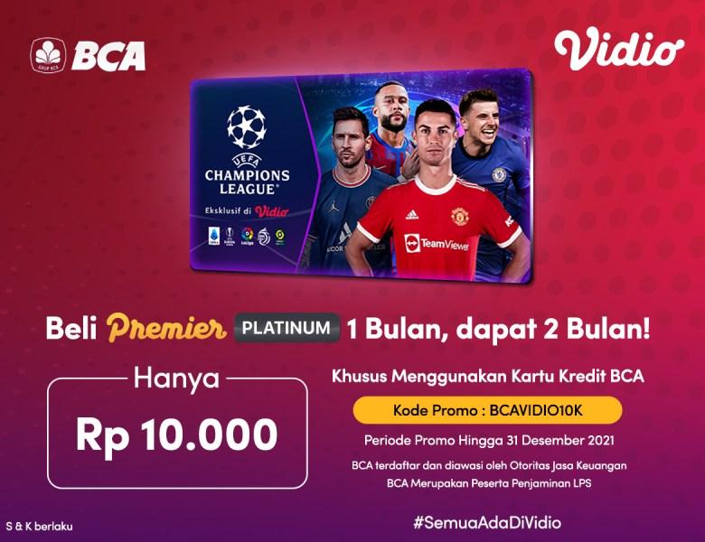 Beli Vidio Premier 1 Bulan dengan Promo Kartu Kredit BCA Dapat 2 Bulan!