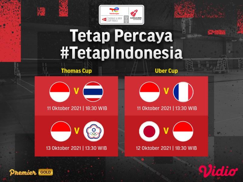 Jadwal dan Link Live Streaming Indonesia Thomas dan Uber Cup 2020