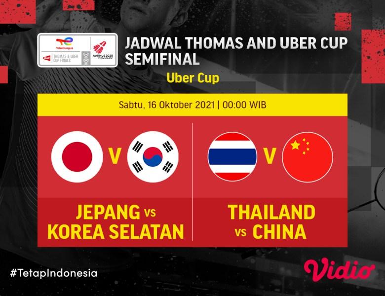 Jadwal dan Link Live Streaming Semifinal Uber Cup 2020