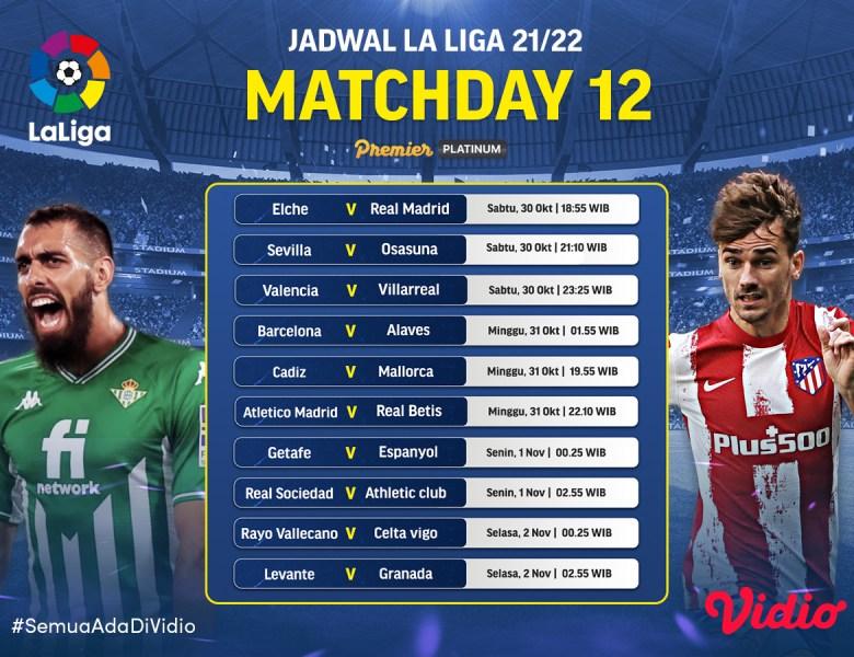 Link Live Streaming La Liga Spanyol 2021/22 Jornada 12