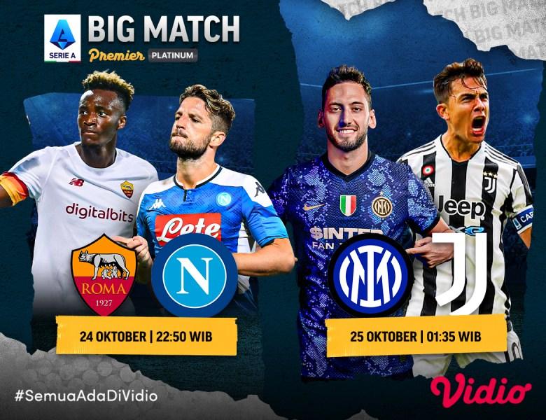 Live Streaming Serie A, Roma Jumpa Napoli dan Inter Milan vs Juventus