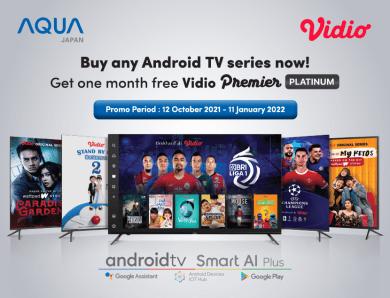 Beli Android Smart TV AQUA Japan & Dapatkan Vidio Premier 1 Bulan!