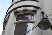 Spuistraat 274, Amsterdam - bay window with stained glass