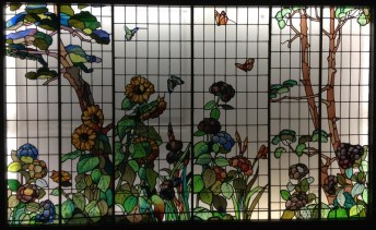 Garden of Sunflowers and Hydrangeas stained glass by Maumejean Hermanos 1908