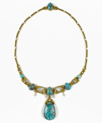 Chamarande Art Nouveau necklace with turquoise cabochons and pearls (BRAFA 41b)