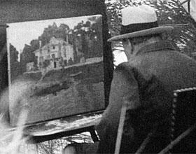 W. Churchill de vacaciones en Iparralde, pintando el cuadro que se subastará