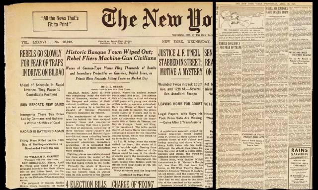 La noticia del Bombardeo de Gernika, firmada por Steer, en la portada del New York Times
