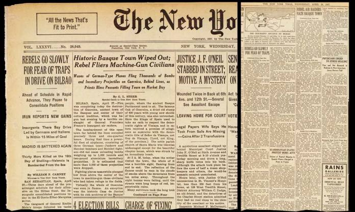 The news on the Bombing of Guernica, signed by Steer, on the cover of the New York Times