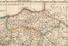 "Fragment of the map by Willem Blaeu. ""Regnorum Hispanae nova descriptio."" From Nouvel Atlas. Amsterdam: Willem & Joan Blaeu, 1643-50. 14 3/4 x 19 1/4. Engraving"