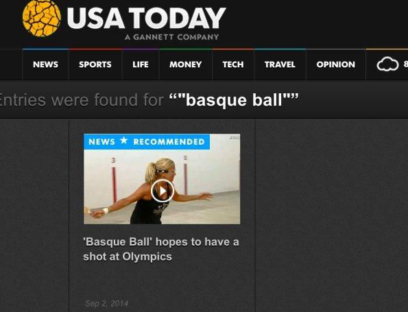 La noticia sobre el intento de convertir la Pelota Vasca en deporte Olimpico, presente en todos los USA
