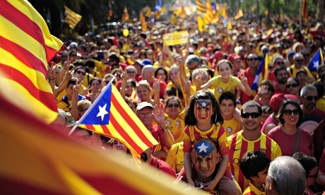 Demonstrators call for independence for Catalonia during this year's Catalan National Day in Spain. Photograph: Manu Fernandez/AP