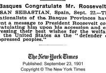 PNV felicita a Roosevelt (1901)