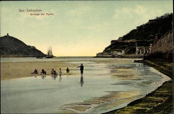 Ansichtskarte / Postkarte San Sebastian Baskenland, Entrada del Puerto, Eingang zum Hafen, Kinder (Akpool)