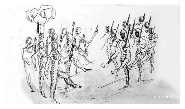 Boceto del Storyboard de l pelucula vasca Dantzan