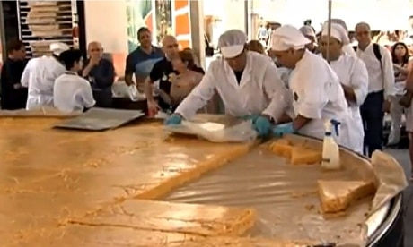 The giant tortilla being prepared in Vitoria, Spain. Photograph: YouTube