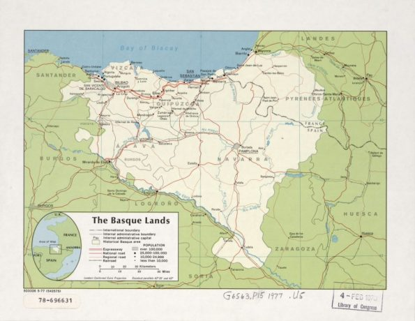 """The Basque lands"". Mapa de la CIA, 1977 (Libreria del Congreso USA)"