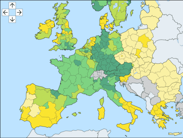 Europe personal income per capita by NUTS2 region