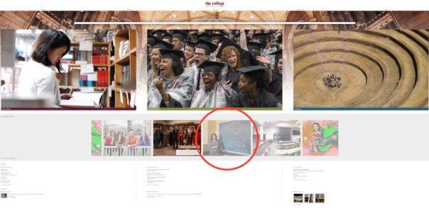 Portada de la web del College de la Chicago University. Con la referencia al reportaje sobre el Euskera