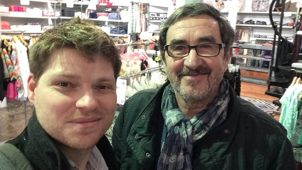 Pedro Aramaio agreed to pose for a selfie after conversing using Google's app