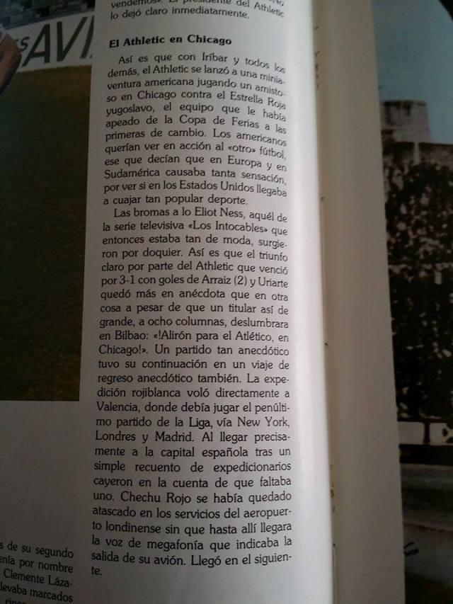 Pagina del libro sobre la Historia del Athletic en la que se narra la visita a Chicago