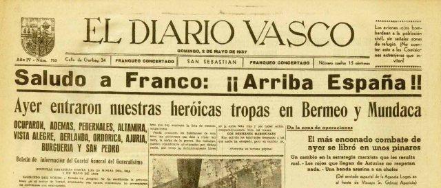 Cabecera Diario Vasco 1937