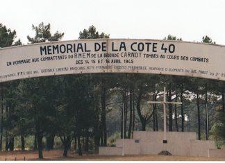 Entrada al memorial de la Cota 40. Allí aparece inscrito en nombre del Batallón Gernika