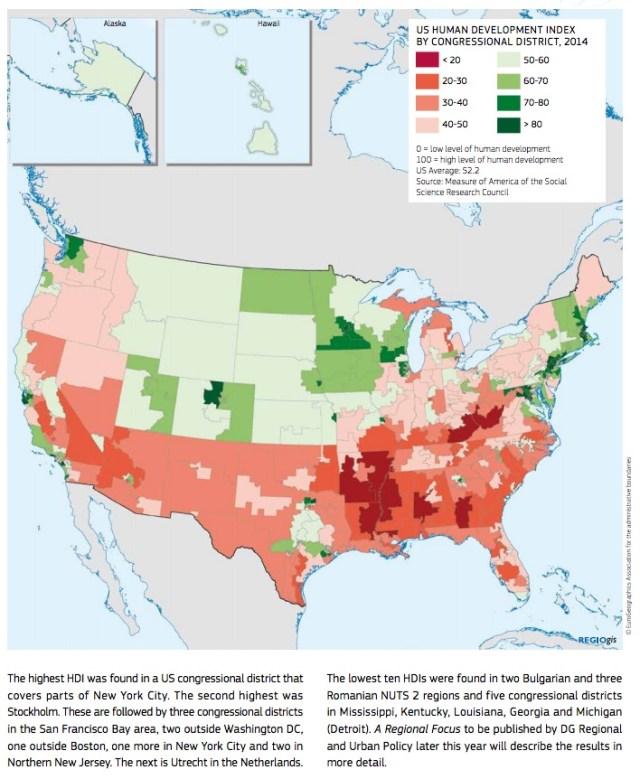Situación del Indice de Desarrollo Humano en USA 2014