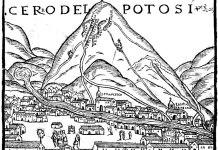 """Cerro del Potosi en el siglo XVI. Una décadas antes de los enfrentamientos entre vascongados y Vicuñas. Interesante observar los nombres de las """"""""vetas"""" en el cerro"""