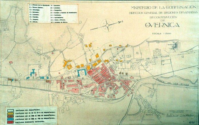 Mapa de los daños sufridos por Gernika (plano hecho por el gobierno franquista)