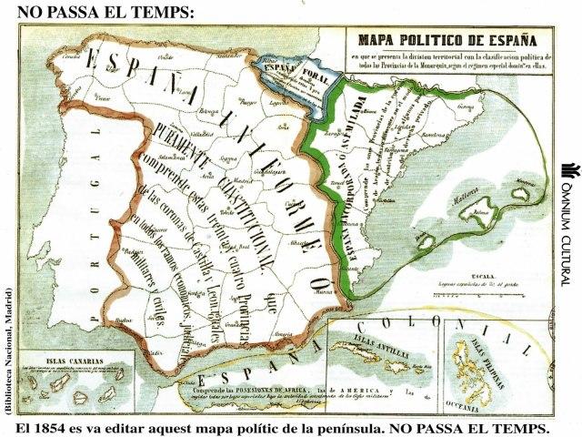 Mapa político de España de 1854 en el que se presenta la división territorial con la clasificación política de todas las provincias de la Monarquía según el régimen especial dominante en ellas (Biblioteca Nacional, Madrid)