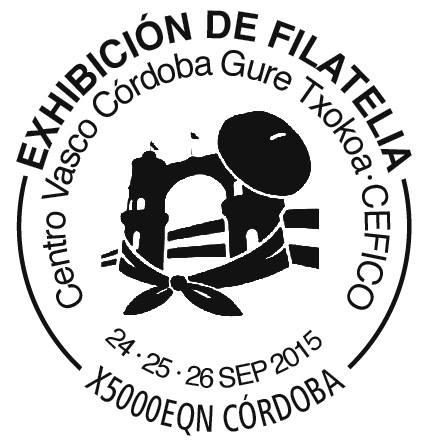 Matasellos de Correo Argentino conmemorativo de la Exhibicion de filatemia organizada por el Centro Vasco de Cordoba