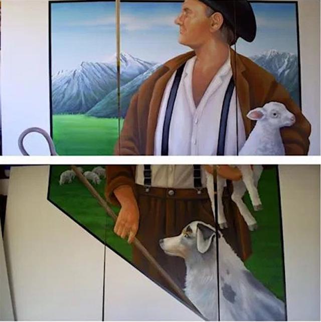 Mural dedicado al pastor vasco en Gardnerville Nevada