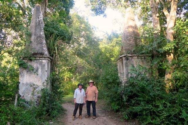 Entrance to the ruins of Hacienda Santa Maria and the lauburus carved on its stone columns