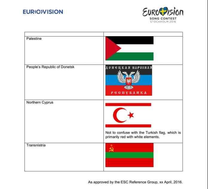 listado banderas especialmente prohibidas eurovision 2