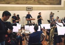 """Ensayo de """"Bandtzaldia"""" con la participacion de AIKO Taldea y la Banda Municipal de Bilbao"""