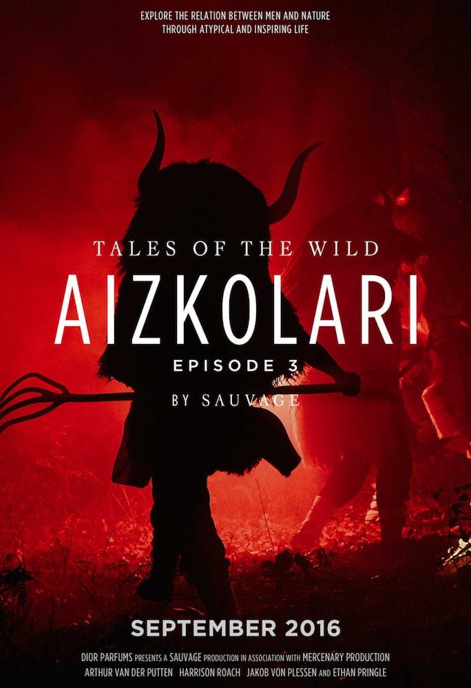 """Tales of Wild telesailak euskaldunei dedikatutako kapituluaren kartela, Dior-ek bere """"Sauvage"""" perfumea sustatzeko egina."""