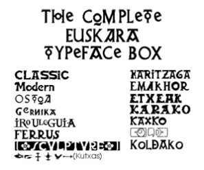 Sample of the 14 Euskara fonts