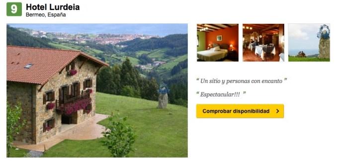 Clasificación en Trip Advisor de la Casa Rural Lurdeia