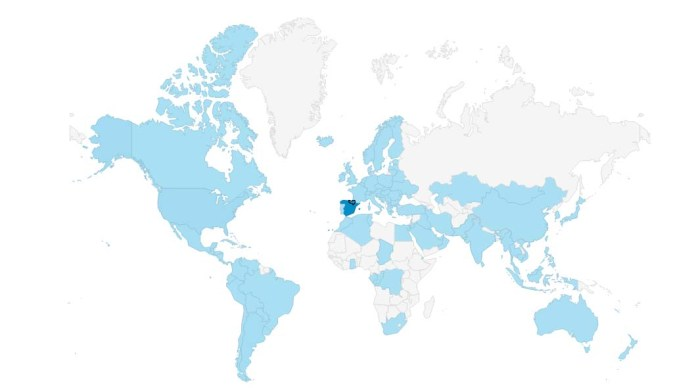 Mapa de las visitas aboutbasquecountry.eus. Enero 2017