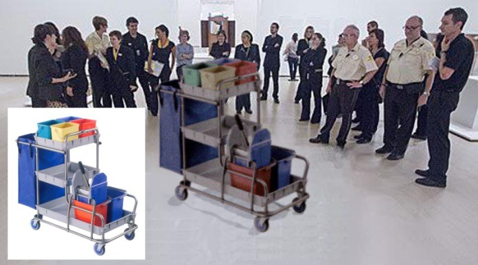 An example of the photoshopped Guggenheim cleaning cart photo, and the cleaning cart found on Google.