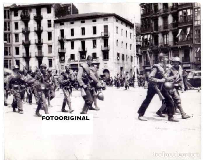 Rebel troops entering Bilbao, June 1937.