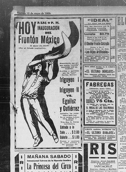 Announcement of the opening of the Frontón México in 1929.