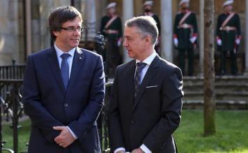 El Lehendakari Urkullu y el President Puigdemont en Gernika