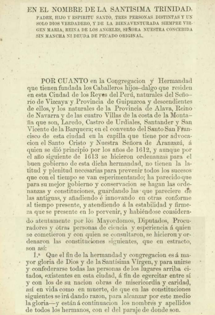 The first page of the Constitution of the Our Lady of Aranzazu Fraternity in Lima