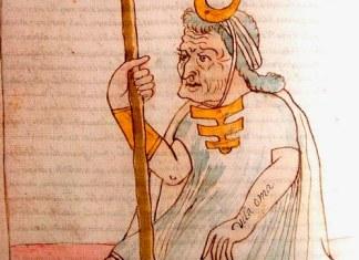 """Tomado de la obra Códice Murúa: Historia y genealogía de los reyes incas del Perú del padre mercedario fray Martín de Murúa: códice Galvin (2004 [1590]). En el brazo del personaje se puede leer: """"Vila Oma"""" y en la pierna del mismo: """"El gran pontífice del Inga""""; ambas inscripciones dan cuenta de la alta jerarquía del individuo, la cual se ve a su vez reforzada mediante el uso de la diadema en forma de media luna, el brazalete o chipana, bastón de mando y el adorno de barbilla."""