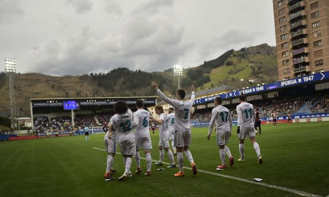 Little and large … Real Madrid's Cristiano Ronaldo celebrating a goal against Eibar in their Ipurua stadium, in the Basque country. Photograph: Alvaro Barrientos/AP