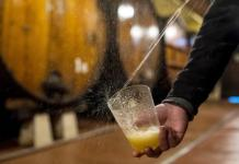 At Petritegi, as at other cider houses, how you fill your glass is an essential skill.CreditDaniel Rodrigues for The New York Times