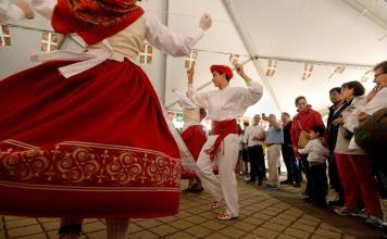The Gauden Bat dance group from Chino, Calif., performs during the Basque Fest on Parade Plaza in New London Saturday, June 23, 2018. The festival was hosted by the New England Basque Club. (Dana Jensen/The Day)